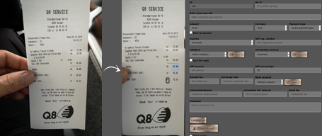 Example of automatic receipt scanning